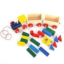 baby toys kids trailer truck wooden train vehicle blocks