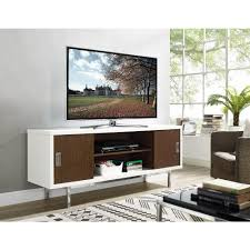 white and brown tv stand. Walker Edison Furniture Company Manhattan White And Walnut With Full Sliding Doors 60 In Entertainment Brown Tv Stand