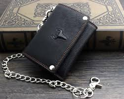 leather knots braiding braided lanyard leather tri fold biker wallet badass chain wallets mens wallet with