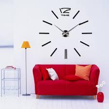 wc2046 3d giant vinyl adhesive wall clock black