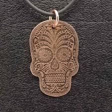 copper jewelry sugar skull pendant