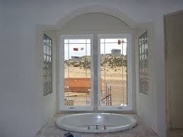 the two glass block windows in the master bath