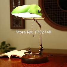 classic chinese retro desk lamp green glass table light adjule bronze metal frame
