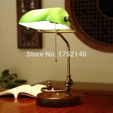 classic chinese retro desk lamp green glass table light adjule bronze metal frame