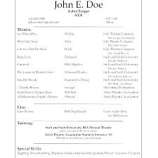 Acting Resume Template Download Theater Resume Examples Wikirian Com
