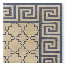 greek key border flatweave rug blue