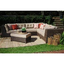 ae outdoor dawson 7 piece all weather wicker outdoor sectional with tan cushions