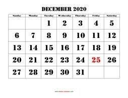 Free Download Printable December 2020 Calendar Large Box Grid
