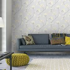 Grey And Yellow Wallpaper Living Room ...
