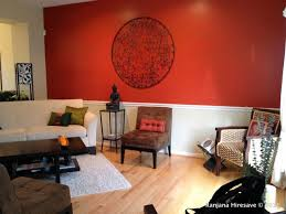 Red wall stylish room living-room