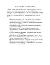 hammurabi s code reading hammurabi discussion questions
