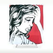 comic book shower curtain crying red vintage comic book painting shower curtain comic book shower curtains