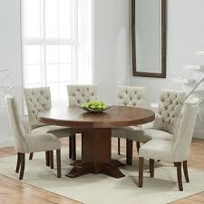 trina dark oak round dining table with 6 albany beige chairs 7012