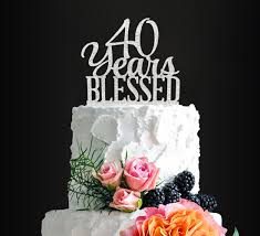 Silver Acrylic Custom 70 Years Blessed Cake Topper 70th Birthday