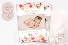 Template For Birth Announcement Psd Birth Announcement Card Template Design 5