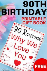 90th birthday free printable book delight mom dad grandma or grandpa on their