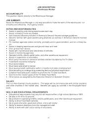 Sample Resume For Warehouse Worker warehouse worker job description for resume Ozilalmanoofco 12
