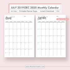 2019 2020 Dated Monthly Calendar For Unlimited Instant Download Digital Printable Planner Inserts In Pdf Format Filofax A5 Monthly Planner