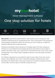 Mytruehotel Brochure : Hotel Management Software Brochure | Erp - Pdf