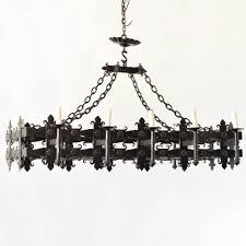 elongated gothic iron rectangle chandelier antique vintage old belgium france