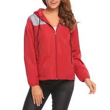 women s lightweight waterproof rain jacket outdoor hooded windbreaker raincoat red grey cb185udhi47 unibelle womens zipper woindbreaker rainwear