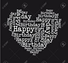 Black Happy Birthday Black And White Happy Birthday Heart Isolated Vector Illustration
