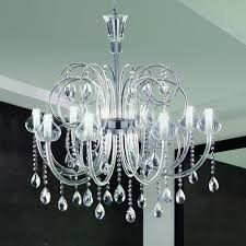 intrecci 2082 8 blown glass chandelier with crystal pendants