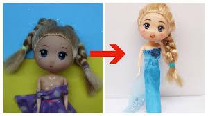 Biến Hóa Búp bê #24 CHIBI thành ELSA - Lần đầu vẽ mặt búp bê Chibi, làm  tóc, may váy Elsa - YouTube