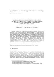Research Paper Source Bayesian Based Methods For The Estimation Of The Unknown Models