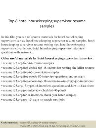 Top Hotel Housekeeping Housekeeping Supervisor Resume Simple Sample