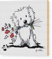 maltese wood print featuring the drawing garden helper by kim niles