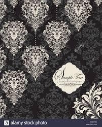 Black And White Vintage Design Vintage Invitation Card With Ornate Elegant Retro Abstract