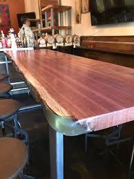 bubinga slab bar table restaurant in redwood city