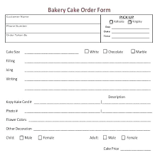 Sample Template For Cake Order Form Pricing Bakery Mdrecruiterco