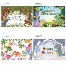 Laeacco Dinosaur Birthday Party Baby Cartoon Safari Forest ...