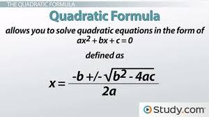 solving problems using the quadratic formula lesson transcript study com