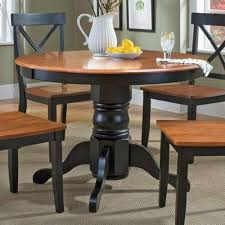 home styles 5168 30 round pedestal dining table black and cote oak finish