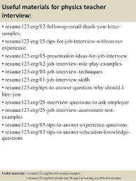 Top 8 Physics Teacher Resume Samples