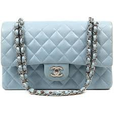 authentic chanel powder blue leather double