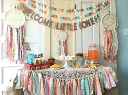 Dream Catcher Baby Shower Decorations Welcome Little One Banner for Baby Shower Boho Modern Baby Shower 13