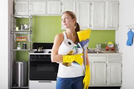 clean kitchen:  woman with cleaning products in kitchen