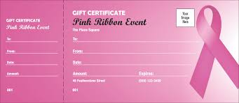 Customized Gift Certificates Pink Ribbon Gift Certificate