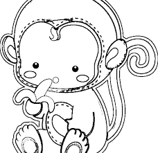 Cute Coloring Pages For Girls Cartoon Monkey Pictures To Color Cute