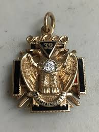 vintage 14k yellow gold 32nd degree tri fold masonic freemason pendant fob 689718418743