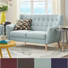 Niels Danish Modern Button Tufted Linen Fabric Loveseat iNSPIRE Q Modern -  Free Shipping Today - Overstock.com - 18677182