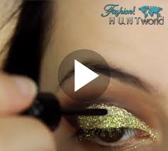 then here fashion hunt world is going to share with you another party occasional makeup tutorial yes this is gold glitter cut crease smokey eye
