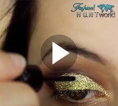 gold glitter cut crease smokey eye party makeup tutorial
