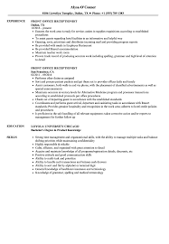 Front Desk Receptionist Resume Sample Front Office Receptionist Resume Samples Velvet Jobs 1