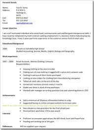school leavers cv examples