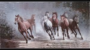 cool running horses for winning oil painting by hewen tang 湯賀文馬到功成油畫 you